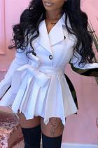 White Fashion Casual Print Split Joint Turndown Collar Long Sleeve Dresses