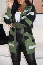 Green Casual Print Camouflage Print Split Joint Outerwear