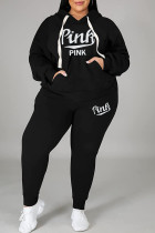 Black Fashion Casual Letter Print Basic Hooded Collar Plus Size Two Pieces