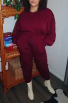 Burgundy Casual Solid Split Joint O Neck Long Sleeve Two Pieces
