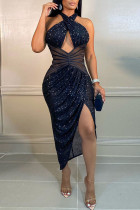 Deep Blue Sexy Solid Hollowed Out Split Joint Asymmetrical  Sequins Halter One Step Skirt Dresses
