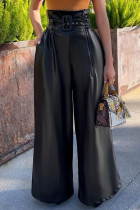 Black Street Solid Split Joint With Belt Straight High Waist Wide Leg Solid Color Bottoms