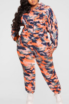 Tangerine Casual Print Camouflage Print Split Joint Hooded Collar Plus Size Two Pieces