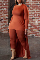 Deep Coffee Casual Solid Split Joint Asymmetrical O Neck Plus Size Two Pieces