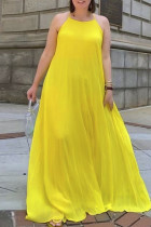 Yellow Sexy Casual Solid Backless Spaghetti Strap Long Dress
