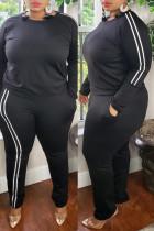 Black Fashion Casual Striped Split Joint O Neck Plus Size Two Pieces