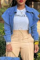 Blue Street Solid Split Joint Flounce Turndown Collar Long Sleeve Denim Jacket