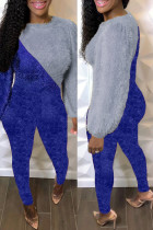 Blue Fashion Casual Solid Split Joint O Neck Long Sleeve Two Pieces
