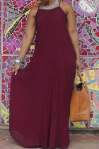 Red Sexy Casual Solid Backless Spaghetti Strap Long Dress