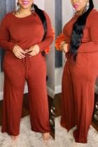 Orange Casual Solid Split Joint Frenulum O Neck Plus Size Jumpsuits