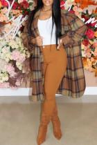 Multicolor Fashion Casual Plaid Cardigan Turndown Collar Outerwear