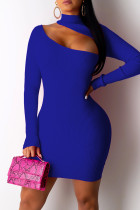 Blue Fashion Sexy Solid Hollowed Out Turtleneck Long Sleeve Dresses