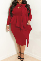 Red Casual Solid Split Joint Flounce Asymmetrical With Bow Asymmetrical Collar Plus Size Two Pieces