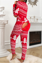 Red Fashion Living Print Split Joint V Neck Regular Jumpsuits