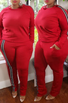 Red Fashion Casual Striped Split Joint O Neck Plus Size Two Pieces