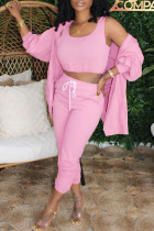 Pink Fashion Casual Solid Cardigan Vests Pants U Neck Long Sleeve Three-piece Set