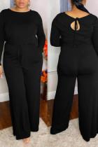 Black Casual Solid Split Joint Frenulum O Neck Plus Size Jumpsuits