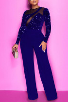 Blue Sexy Solid Split Joint See-through  Sequins O Neck Straight Jumpsuits