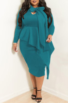 Cyanine Casual Solid Split Joint Flounce Asymmetrical With Bow Asymmetrical Collar Plus Size Two Pieces