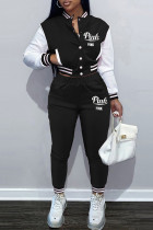Black Fashion Casual Letter Print Split Joint Long Sleeve Two Pieces