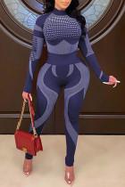 Blue Purple Casual Sportswear Print Split Joint Half A Turtleneck Long Sleeve Two Pieces