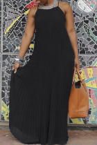Black Sexy Casual Solid Backless Spaghetti Strap Long Dress
