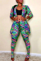 Colour Fashion Casual Print Cardigan Pants Turndown Collar Long Sleeve Two Pieces