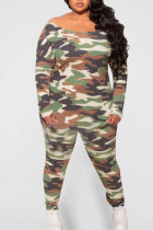 Army Green Casual Print Camouflage Print Split Joint O Neck Plus Size Two Pieces
