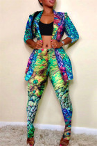 Multicolor Fashion Casual Print Cardigan Pants Turndown Collar Long Sleeve Two Pieces