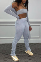 Grey Sexy Solid Split Joint Fold Strapless Long Sleeve Two Pieces
