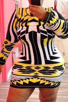 Yellow Fashion Casual Print Basic O Neck Long Sleeve Plus Size Dresses