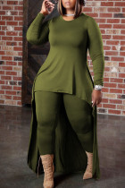 Green Casual Solid Split Joint Asymmetrical O Neck Plus Size Two Pieces