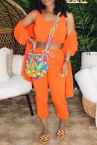 Orange Fashion Casual Solid Cardigan Vests Pants U Neck Long Sleeve Three-piece Set