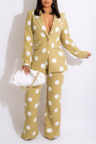 Apricot Casual Print Polka Dot Split Joint Buttons Turn-back Collar Long Sleeve Two Pieces