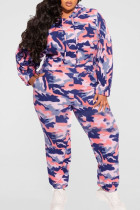 Color Blue Casual Print Camouflage Print Split Joint Hooded Collar Plus Size Two Pieces