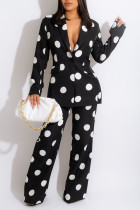 Black Casual Print Polka Dot Split Joint Buttons Turn-back Collar Long Sleeve Two Pieces