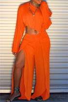 Orange Fashion Casual Solid Slit Oblique Collar Long Sleeve Two Pieces
