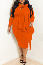 Orange Casual Solid Split Joint Flounce Asymmetrical With Bow Asymmetrical Collar Plus Size Two Pieces