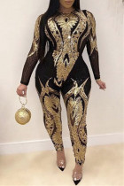 Gold Fashion Casual Patchwork Sequins O Neck Plus Size Jumpsuits