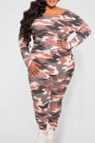 Orange Pink Casual Print Camouflage Print Split Joint O Neck Plus Size Two Pieces