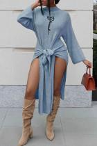 Sky Blue Fashion Casual Print Slit Half A Turtleneck Long Sleeve Dresses