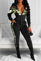 Black Fashion Casual Camouflage Print Split Joint Hooded Collar Long Sleeve Two Pieces