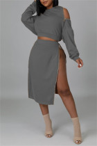 Grey Fashion Casual Solid Split Joint Zipper Hooded Collar Long Sleeve Two Pieces