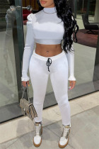 White Sexy Casual Solid Hollowed Out Turtleneck Long Sleeve Two Pieces