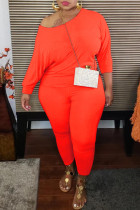 Orange Fashion Casual Solid Basic O Neck Long Sleeve Two Pieces