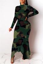 Camouflage Fashion Casual Print Asymmetrical Turtleneck Long Sleeve Dresses