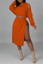 Orange Fashion Casual Solid Split Joint Zipper Hooded Collar Long Sleeve Two Pieces