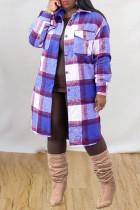 Blue Purple Fashion Casual Plaid Print Cardigan Turndown Collar Outerwear
