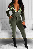 Army Green Fashion Casual Camouflage Print Split Joint Hooded Collar Long Sleeve Two Pieces