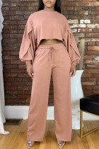 Deep Pink Fashion Casual Solid Basic O Neck Long Sleeve Two Pieces